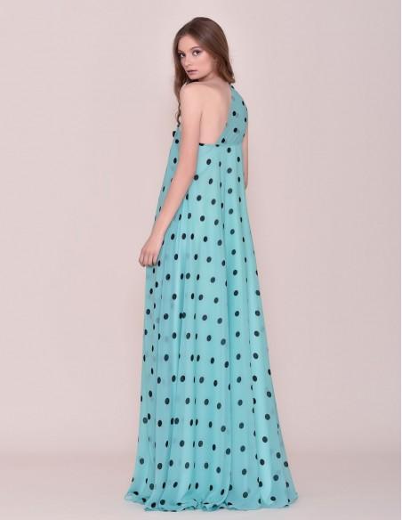 Long polka-dot dress spring-summer