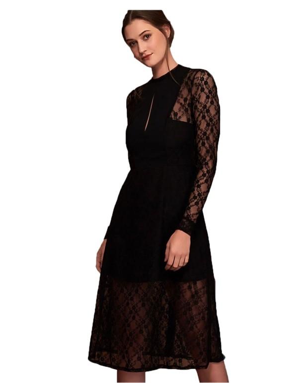 vestido midi con encaje negro para invitadas a eventos de mañana