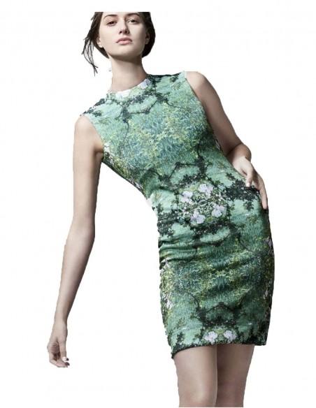 vestido de fiesta con estampado naturaleza de Coco Veve