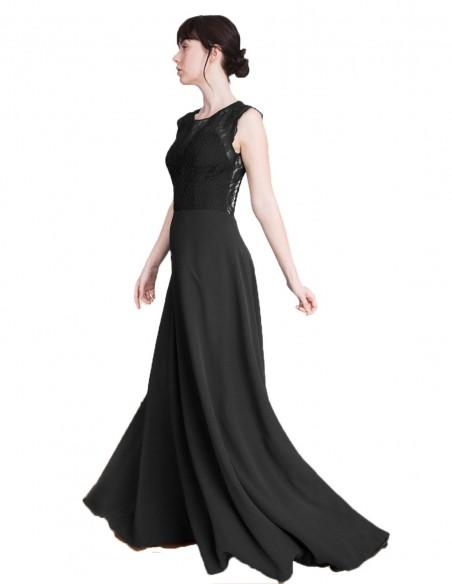 Vestido de fiesta largo con cuerpo de encaje Emma Negro