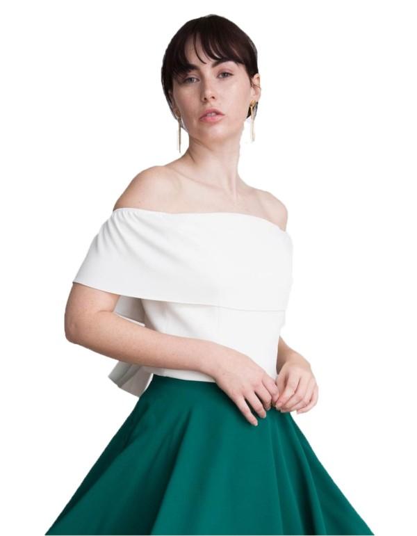 Top de fiesta con escote bandeau blanco y lazo en la espalda de Lauren Lynn London INVITADISIMA