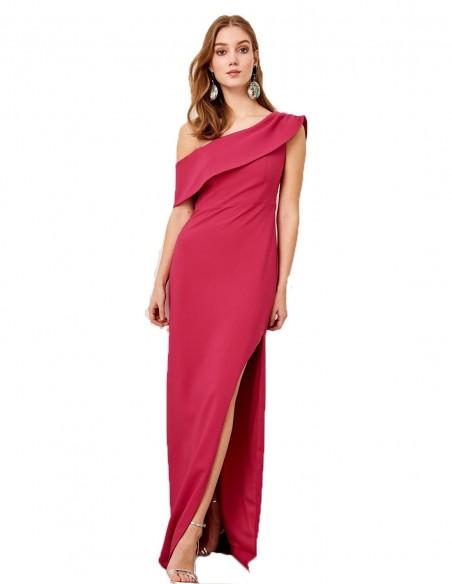 Vestido de fiesta largo con escote asimétrico para invitadas a bodas