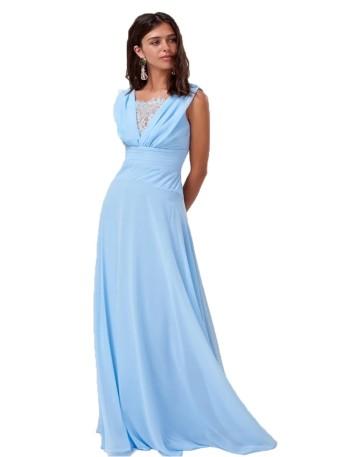 Vestido de fiesta largo azul cielo con falda de vuelo y escote en V con detalle de encaje de Lauren Lynn London.