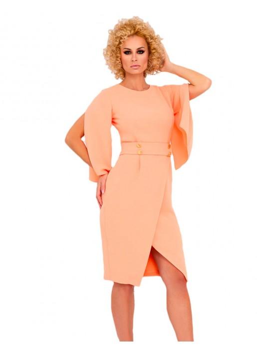 cocktail dress crossed skirt open flared sleeve model