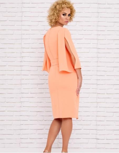 cocktail dress crossed skirt open flared sleeve