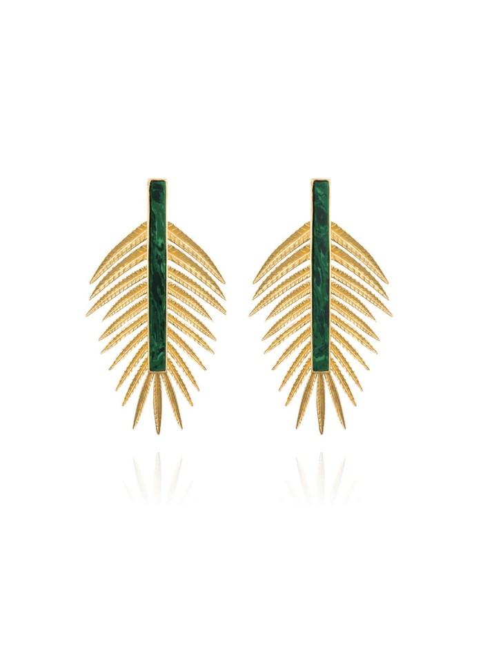 Palm leaf shaped earrings with malachite by Lavani