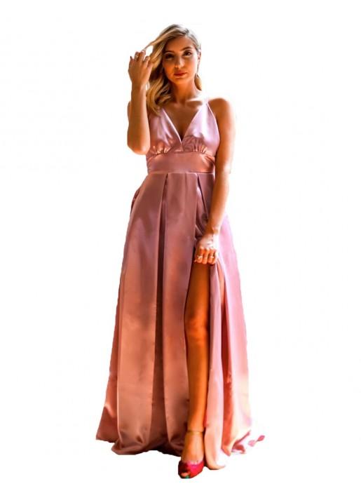 Vestido largo de fiesta con escote v y abertura falda rosa Mauî Official - 1