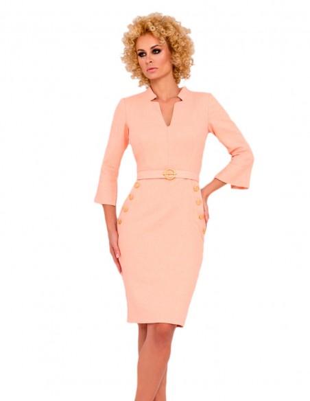 fitted cocktail dress belt sleeves formal event guest model