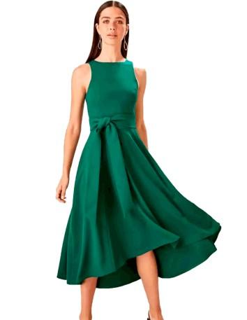 Vestido de cóctel verde esperalda