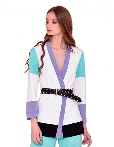 White party jacket with V-neck in INVITADISIMA