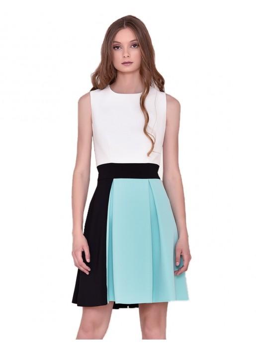 Short round neckline dress with straight sleeves nuribel - 1