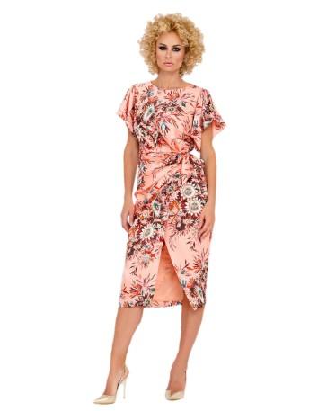vestido coctel falda cruzada estampado flores manga corta