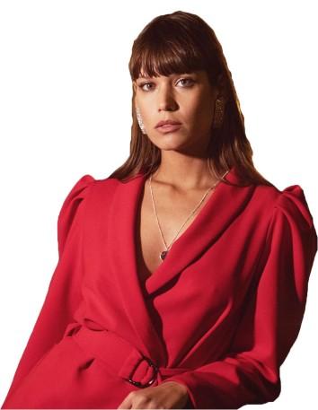 Vestido cóctel blazer con escote v rojo de Maui para INVITADISIMA.