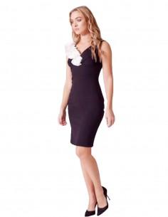 Vestido de fiesta por la rodilla negro con escote en V y detalle de flores en 3D Amy de Revie London