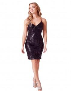 Vestido de fiesta corto negro de lentejuelas - Mariah de Revie London para INVITADISIMA