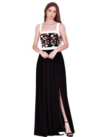 Vestido largo con falda negra y top recto con flores bordadas para nuribel