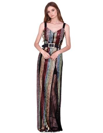 Vestido largo de lentejuelas con escote en V y tirantes anchos de nuribel