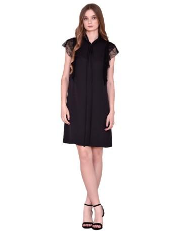 Vestido corto negro sin mangas con volantes de encaje negro de nuribel