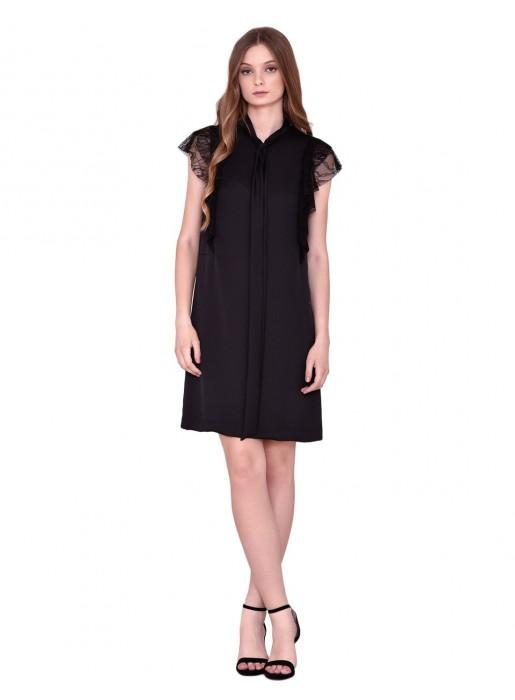 Short black sleeveless dress with black lace ruffles by nuribel