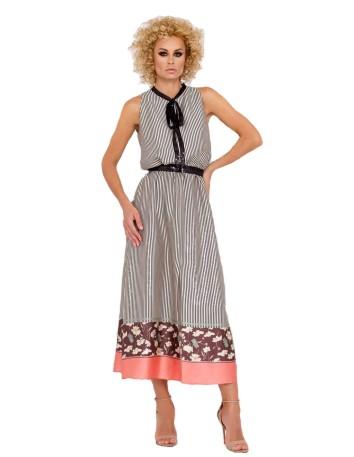 vestido midi estampado sin mangas fiesta evento formal cinturon