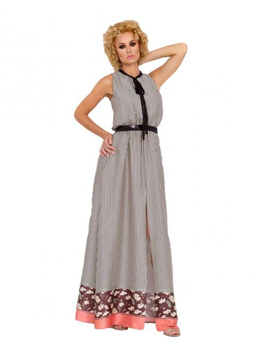 printed maxi summer dress bow belt detail model