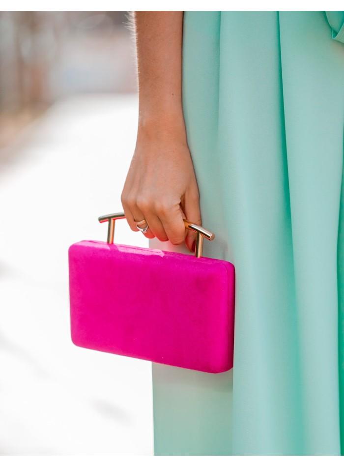 Fuchsia suede effect party bag - Invitada perfecta Lauren Lynn London Accessories - 1