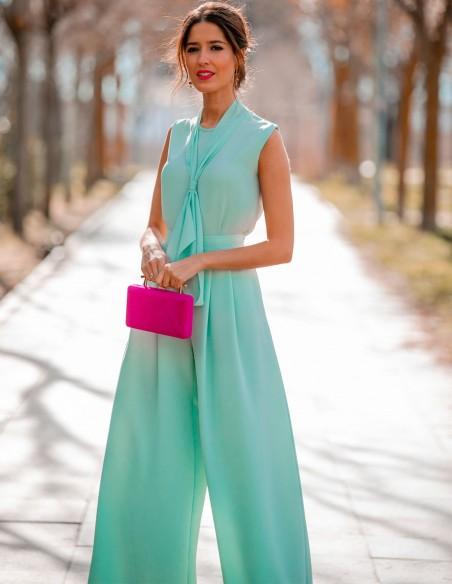 Fuchsia suede effect party bag - Invitada perfecta Lauren Lynn London Accessories - 2