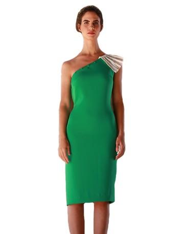 Vestido verde cóctel INVITADISIMA