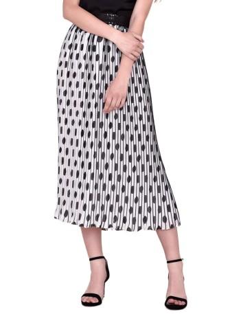 Falda midi plisada con estampado de lunares de nuribel