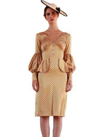 Vestido corto en satén estampado
