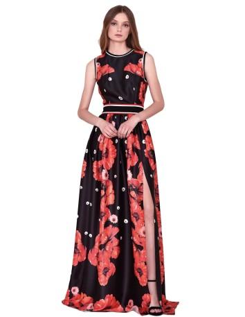 Vestido largo de fiesta en negro con estampado floral rojo de nuribel