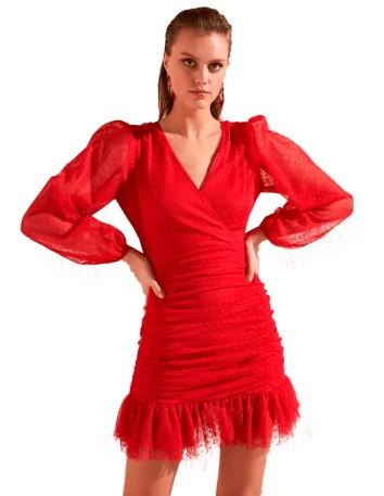 Vestido de fiesta corto rojo plumeti