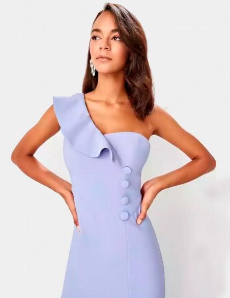 Maxi dress with asymmetrical neckline and button detail Lauren Lynn London - 2