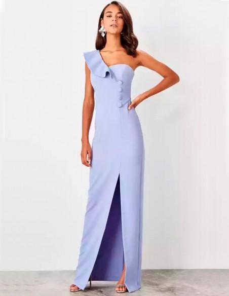 Maxi dress with asymmetrical neckline and button detail Lauren Lynn London - 3