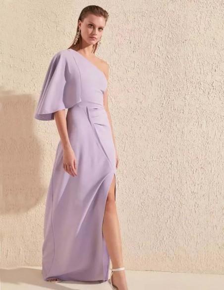 Asymmetric neckline maxi dress in lilac