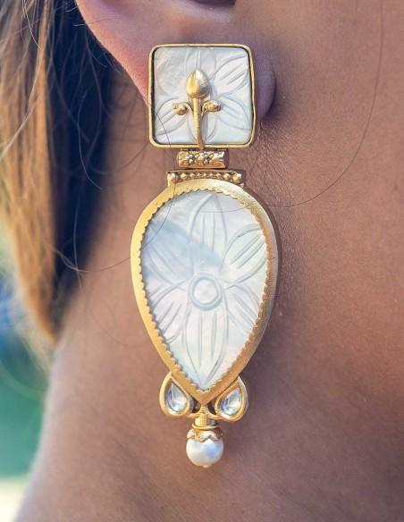 Cut gemstone teardrop earrings for parties