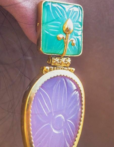 Cut gemstone teardrop earrings for special events