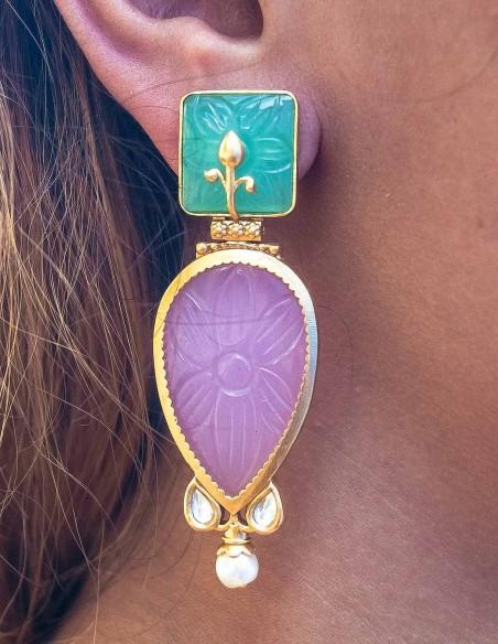 Cut gemstone teardrop earrings for guests