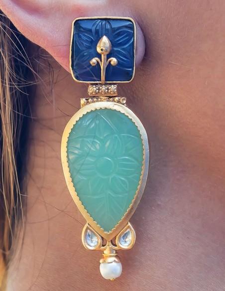 Cut gemstone teardrop earrings