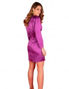 Vestido de fiesta corto violeta con manga larga