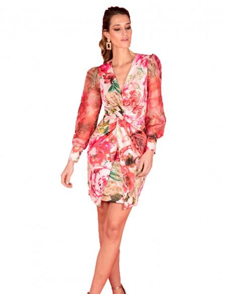 Vestido de cóctel con manga abullonada y estampado floral