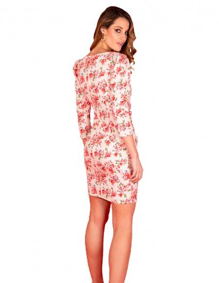 Vestido de cóctel con estampado de flores y manga larga
