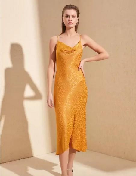 Satin sleep dress with mustard cheetah pattern wedding guests