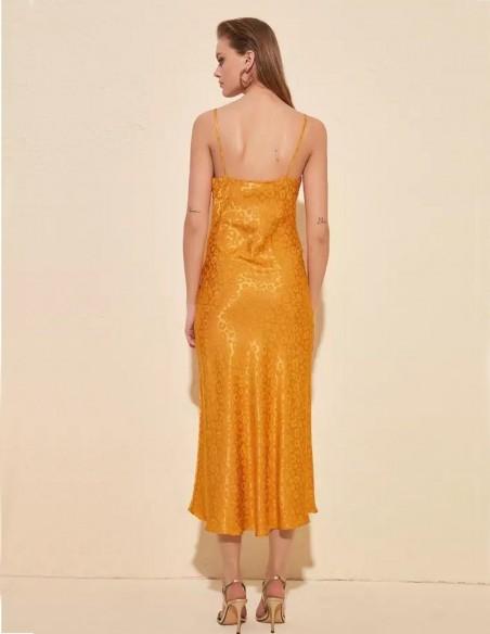 Satin sleep dress with mustard cheetah pattern
