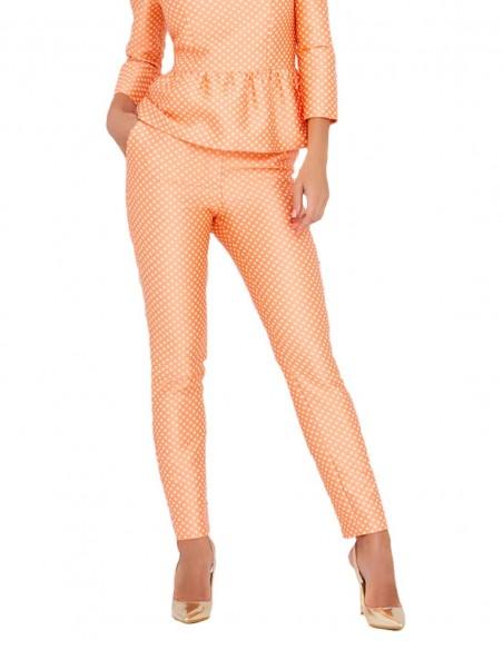Straight cut pants with a white polka dot pattern INVITADISIMA