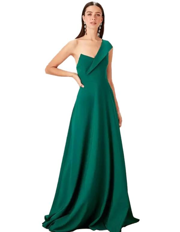 Asymmetric neckline maxi gown