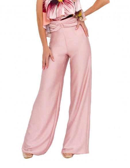Wide-cut palazzo pants with waist detail INVITADISIMA