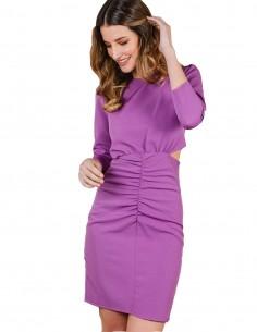 Vestido corto lavanda con aberturas laterales de Cayro