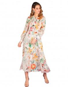 Vestido midi estampado floral con lazo al cuello