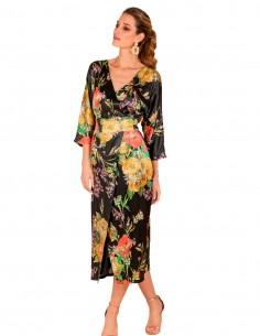 Vestido midi satén con estampado floral de Cayro